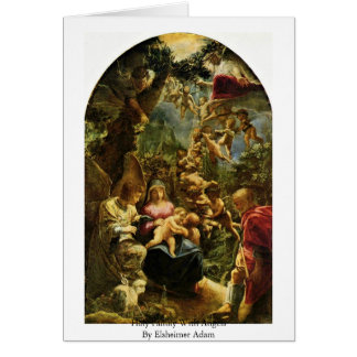 Familia santa con ángeles de Elsheimer Adán Tarjeton