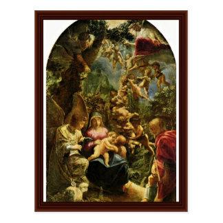 Familia santa con ángeles de Elsheimer Adán Tarjeta Postal
