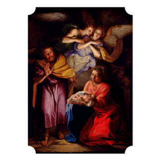 """Familia santa con ángeles por Coypel Invitación 5"""" X 7"""""""
