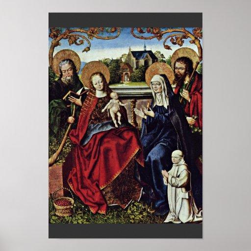 Familia santa con cartujo de Baegert enero Póster
