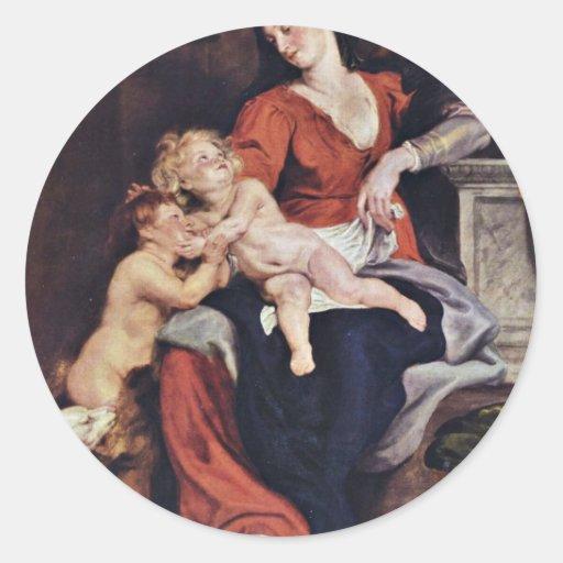 Familia santa con la cesta de Rubens Peter Paul Etiqueta