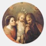Familia santa con las querubes de Gutiérrez Pegatina Redonda