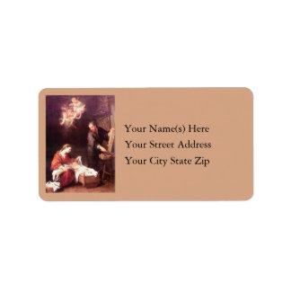 Familia santa con navidad del vintage de los etiquetas de dirección