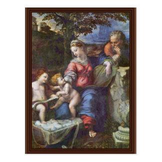 Familia santa debajo del roble con Juan el Bapti Postal