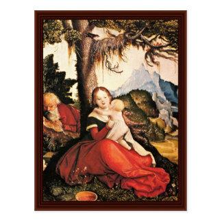 Familia santa en el aire abierto tarjetas postales