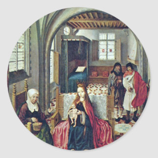 Familia santa en el cuarto con Ana y Joaquín por N Pegatina Redonda