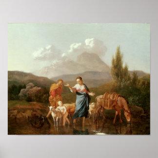 Familia santa en una corriente póster