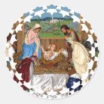 Familia santa: Escena de la natividad Etiqueta Redonda