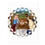 Familia santa: Escena de la natividad Postal