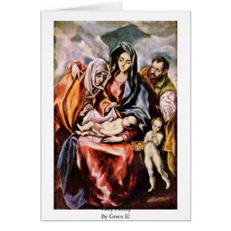 Familia santa por el EL de Greco Tarjeta De Felicitación