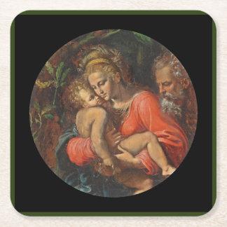 Familia santa por los carpos de Girolamo DA Posavasos De Cartón Cuadrado