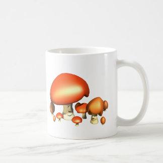 Familia sonriente de la seta taza de café