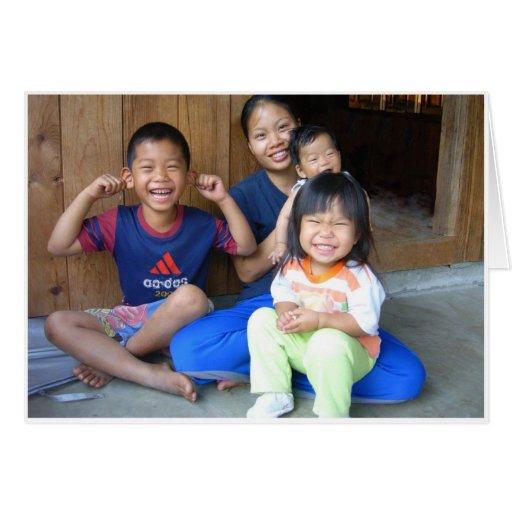 Familia tailandesa tarjeta de felicitación