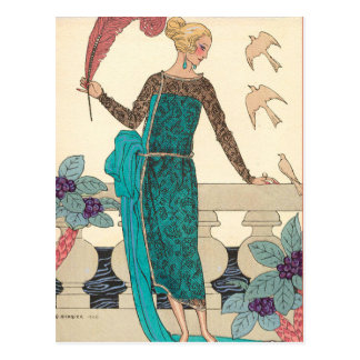 Familiar Doves by George Barbier Postcard