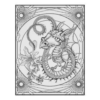 Familiar Dragon: XLARGE DIY Coloring by Sonja A.S. Poster