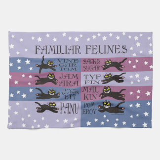 Familiar Felines in Blue and Purple Hand Towels