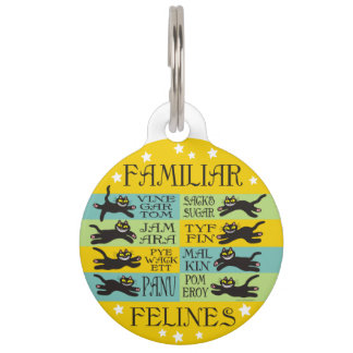 Familiar Felines in Yellow, Mint, and Teal Pet Nametags