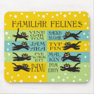 Familiar Felines in Yellow, Mint, and Teal Mouse Pad