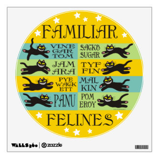 Familiar Felines in Yellow, Mint, and Teal Wall Decal