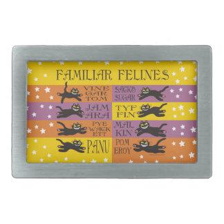 Familiar Felines in Yellow, Orange, and Purple Belt Buckles