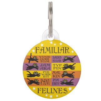 Familiar Felines in Yellow, Orange, and Purple Pet ID Tags