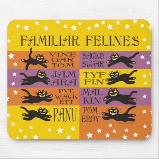 Familiar Felines in Yellow, Orange, and Purple Mouse Pad