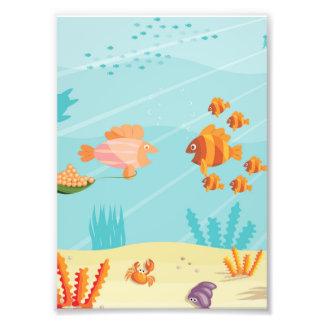 Familias de pescados felices del dibujo animado fotografias