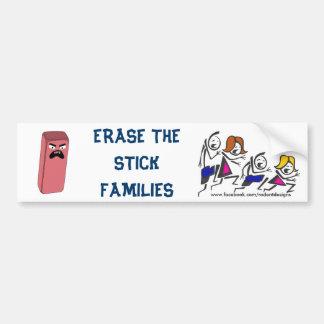 Familias del palillo del borrado pegatina de parachoque