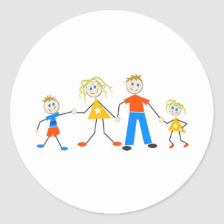 Familias felices etiqueta redonda