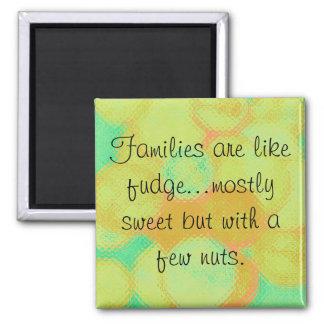 familias y dulce de azúcar imán cuadrado