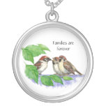 Families are Forever - Song Sparrow Round Pendant Necklace