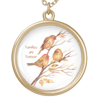 Families are Forever with Cute Watercolor Sparrows Gold Plated Necklace