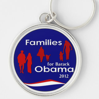 Families For Barack Obama 2012 Silver-Colored Round Keychain