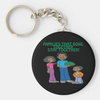 Families That Bowls Together Basic Round Button Keychain