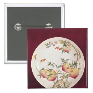 Famille rose plate decorated button