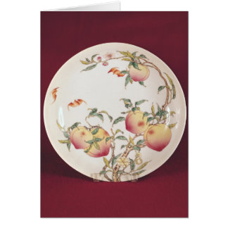 Famille rose plate decorated card