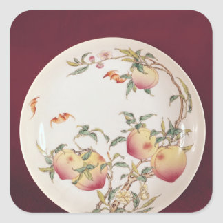 Famille rose plate decorated sticker