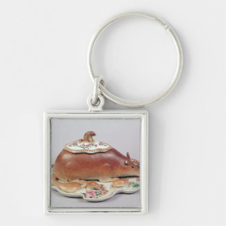 Famille rose sauce tureen and cover modelled keychain