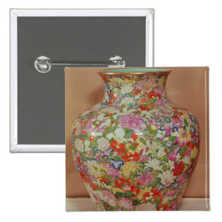 Famille Rose vase with a mille fleurs Pinback Button