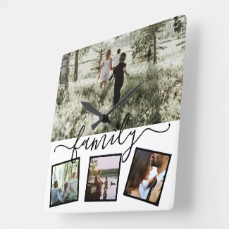 Family 4 photo collage custom personalized square wall clock