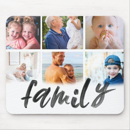 Family 6 photo collage grid custom script mouse pad