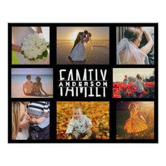 Family 8 Photo Collage DIY Template | Add Name V2 Poster