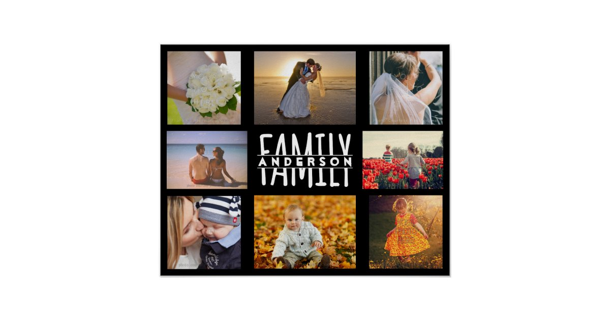 family 8 photo collage diy template