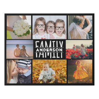 Family 8 Photo Collage Easy Template | Custom Name Faux Canvas Print