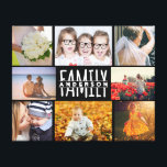 "Family 8 Photo Collage Template Plus Add Name V2 Canvas Print<br><div class=""desc"">This personalized 8-photo wall canvas is simply elegant in all black with white text. Easily add your family name to the center and 8 photographs. Just follow the instructions provided with the template fields. Add four square pictures and four horizontal / landscape pictures. If you have a short name, it...</div>"