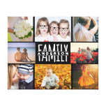 Family 8 Photo Collage Template Plus Add Name V2 Canvas Print<br><div class='desc'>This personalized 8-photo wall canvas is simply elegant in all black with white text. Easily add your family name to the center and 8 photographs. Just follow the instructions provided with the template fields. Add four square pictures and four horizontal / landscape pictures. If you have a short name, it...</div>