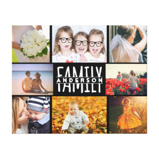Family 8 Photo Collage Template Plus Add Name V2 Canvas Print at Zazzle