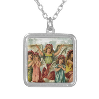 Family - A family of angels sitting on a cloud. Silver Plated Necklace