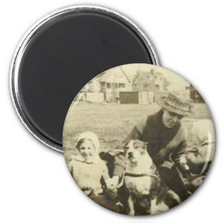 Family and dog on grass magnet