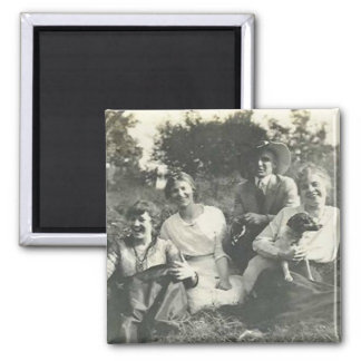 Family and dog sitting on grass 2 inch square magnet